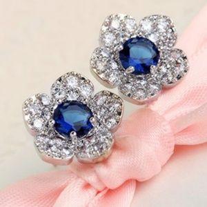 "Sapphire Blue Pave Crystal 1/2"" Flower Earrings"